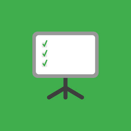 Flat vector icon concept of presentation chart with three check marks on green background.
