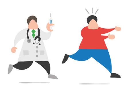 Vector illustration cartoon doctor man with stethoscope and running, holding syringe ready for injection and patient scared and running away.