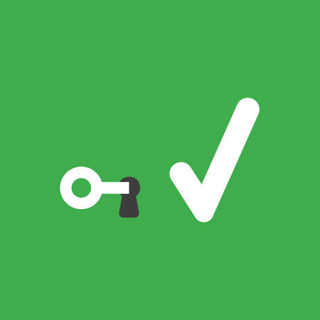 Flat vector icon concept of key into keyhole with check mark on green background.