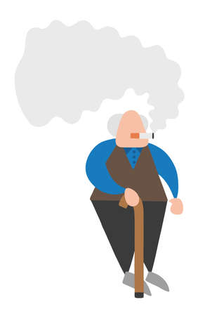 Vector illustration cartoon old man standing with wooden walking stick and smoking cigarette.