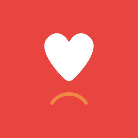 Flat vector icon concept of heart with sulking mouth on red background. Illustration