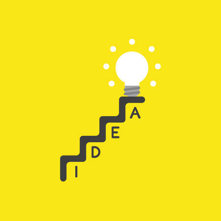 Flat vector icon concept of glowing light bulb on top of idea stairs on yellow background. Illustration