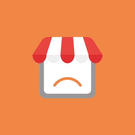 Flat vector icon concept of shop store with sulking mouth on orange background. Vettoriali