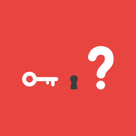 Flat vector icon concept of key and keyhole with question mark on red background.