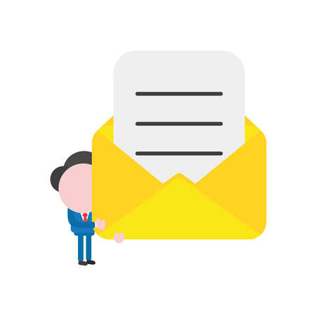 Vector illustration businessman character holding open mail envelope with written paper.