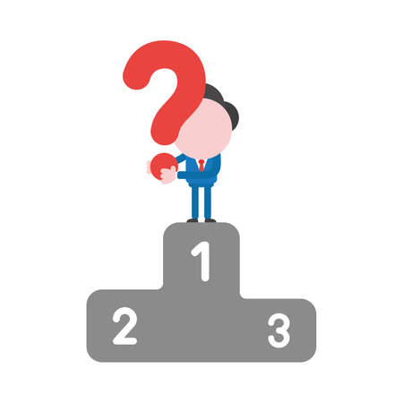 Vector illustration businessman character holding question mark on first place of winners podium.