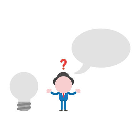 Vector illustration confused businessman character with blank speech bubble and grey light bulb. Vectores