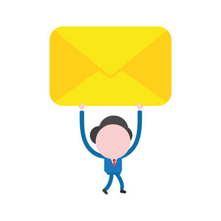Vector illustration businessman character walking and holding up closed mail envelope.