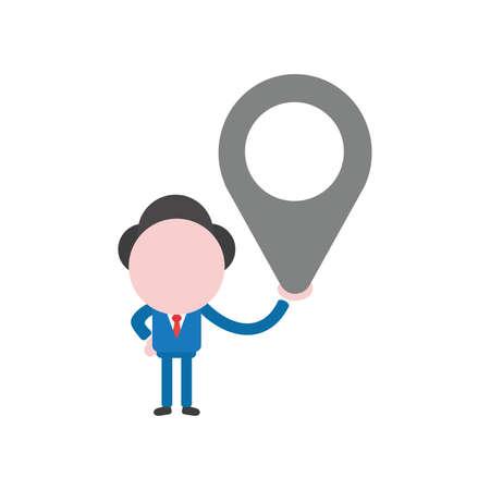Vector illustration businessman character holding map pointer. Illustration
