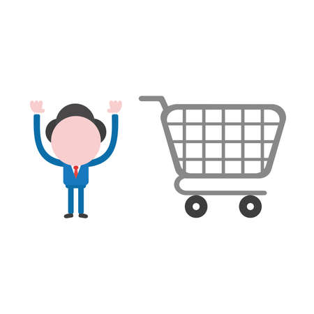 Vector illustration businessman character with shopping cart.
