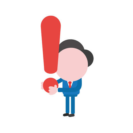 Vector illustration businessman character holding exclamation mark. 일러스트