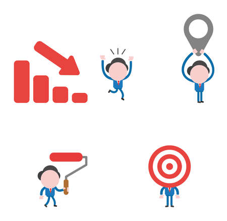 Vector illustration set of businessman mascot character running away from sales bar moving down, holding up map pointer, holding and walking paint roller brush and with bulls eye head. Stockfoto - 107394784
