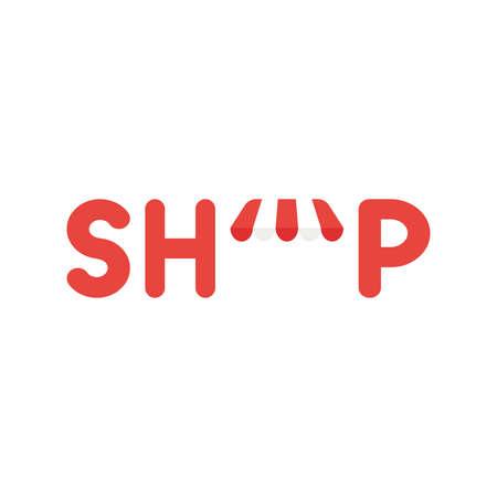 Concepto de icono de ilustración vectorial de la palabra tienda con toldo. Ilustración de vector