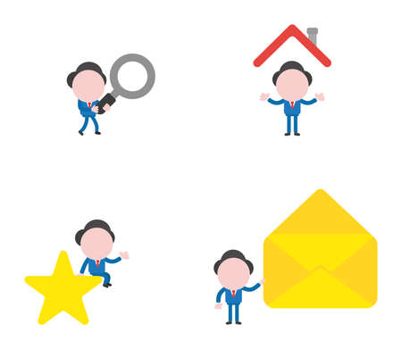 Vector illustration set of businessman mascot character walking and holding magnifying glass, under house roof, sitting on star and holding open mail envelope.