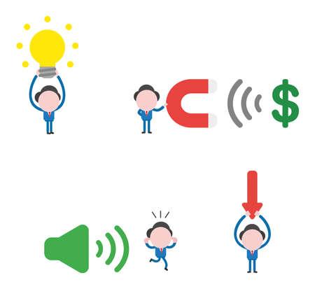 Vector illustratie set zakenman mascotte karakter gloeiende gloeilamp te houden, magneet te houden en dollar geldsymbool aan te trekken, weglopen van geluid op symbool en pijl naar beneden te houden.