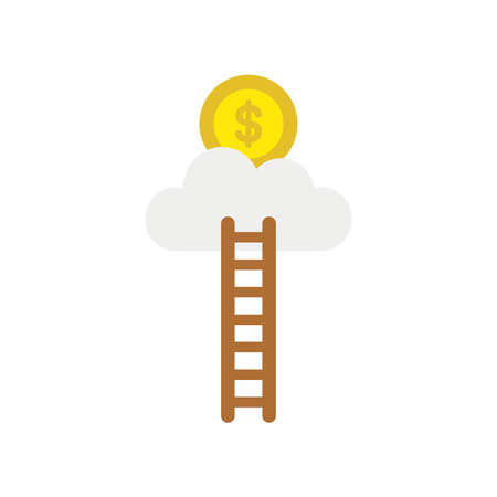 Vector illustration icon concept of ladder reach dollar money coin on cloud.