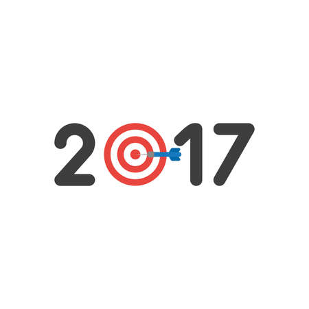Vector illustration icon concept of year of 2017 with bulls eye and dart in the center. Stock Illustratie