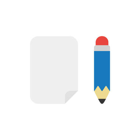 Vector illustration icon concept of blank paper with pencil. Illusztráció