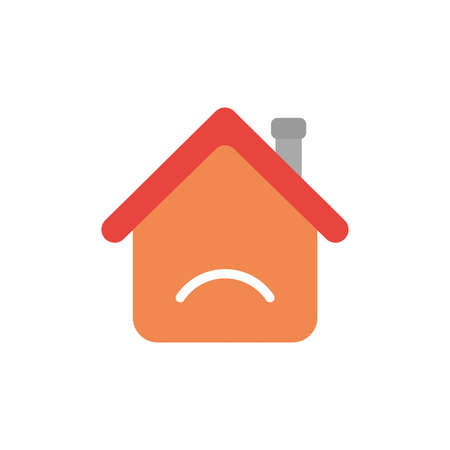 Vector illustration icon concept of house with sulking mouth.