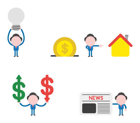 Vector illustration set of businessman mascot character holding up grey light bulb, with dollar money coin into moneybox and pointing house, holding dollar money symbols with arrow moving up and down and holding newspaper. Illustration