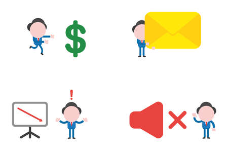 Vector illustration set of businessman mascot character running to dollar, holding closed mail envelope, confused about sales chart arrow moving down and with sound off symbol.