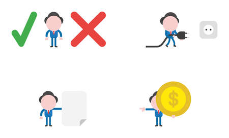 Vector illustration set of businessman mascot character between check mark and x mark, walking and holding plug to outlet, holding blank paper, and holding dollar money coin and pointing.