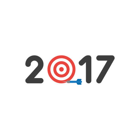 Vector illustration icon concept of year of 2017 with bulls eye and dart miss the target.