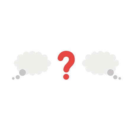 Vector illustration icon concept of question mark between thought bubbles. Illustration