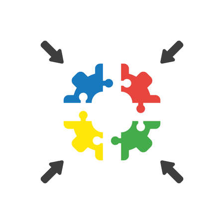 Vector illustration icon concept of four part jigsaw puzzle gear pieces connecting.