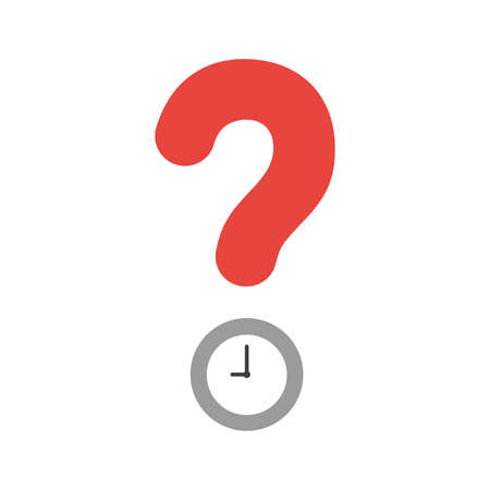 Vector illustration icon concept of question mark with clock time.