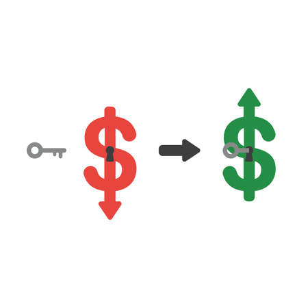 Icon concept of dollar arrow moving down with keyhole and key unlock and moving up. Illustration