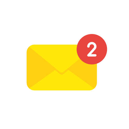 Icon concept of closed mail envelope with number two. Illustration