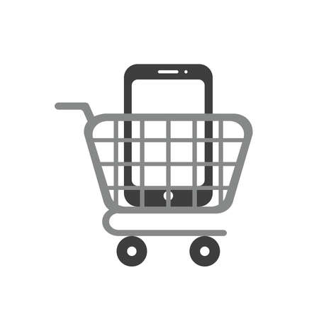 Icon concept of smartphone inside shopping cart. 向量圖像