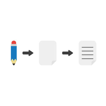 Icon concept of pencil with blank and written papers.