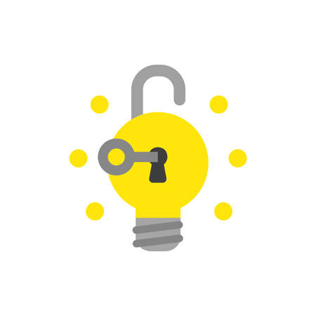 Vector illustration icon concept of key unlock light bulb padlock and glowing.