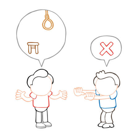 Vector hand-drawn cartoon illustration of men with speech bubble arguing on death by hanging sentence.