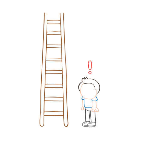 Vector hand-drawn cartoon illustration of man looking wooden ladder with exclamation mark. Ilustração