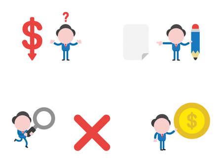Vector illustration set of businessman mascot character.  イラスト・ベクター素材