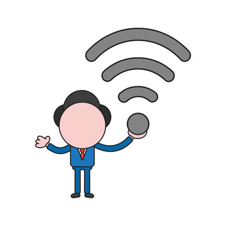 Vector illustration concept of businessman character holding wireless wifi symbol. Color and black outlines.