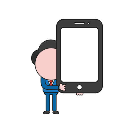 Vector illustration concept of businessman character holding smartphone. Color and black outlines.