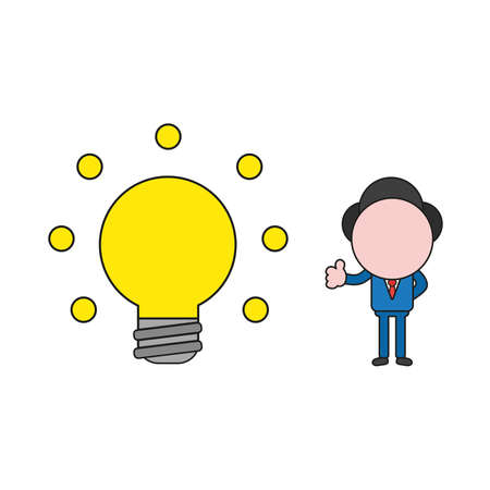 Vector illustration concept of businessman character with glowing light bulb and showing thumbs-up. Color and black outlines.