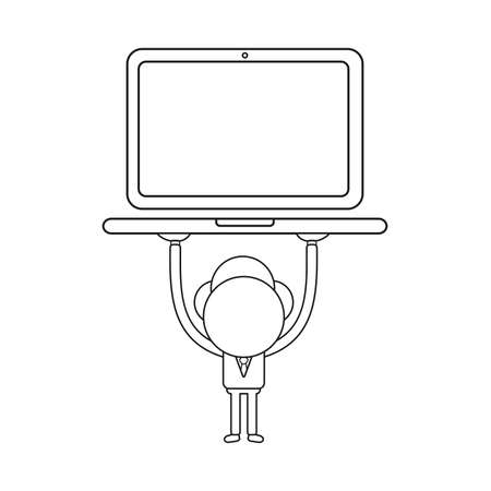 Vector illustration concept of businessman character holding up laptop computer. Black outline.