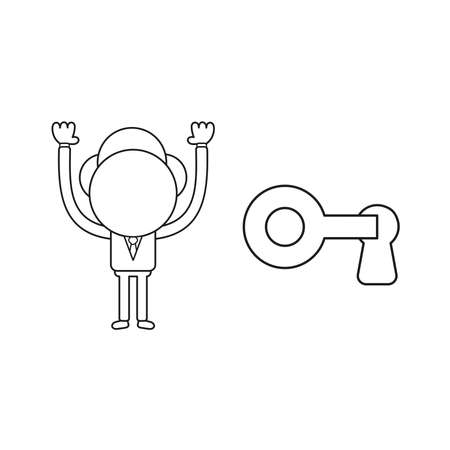Vector illustration concept of businessman character lock or unlock keyhole with key. Black outline.