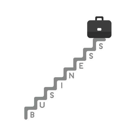 Vector illustration icon concept of briefcase on top of business stairs.