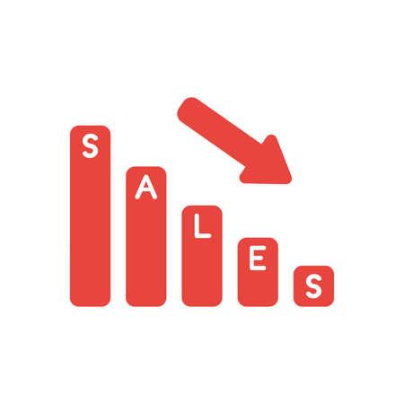 Vector illustration icon concept of sales bar graph moving down. Ilustração