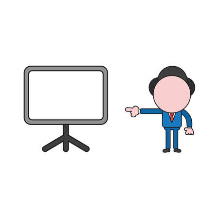Vector illustration concept of businessman character pointing blank presentation chart. Color and black outlines.