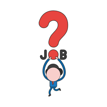 Vector illustration concept of businessman character running and carrying job word with question mark. Color and black outlines.