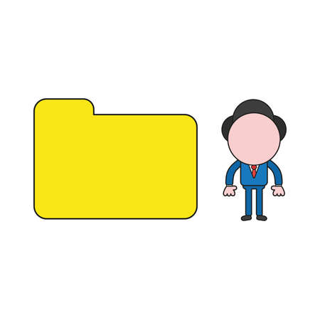 Vector illustration concept of businessman character with closed file folder. Color and black outlines.