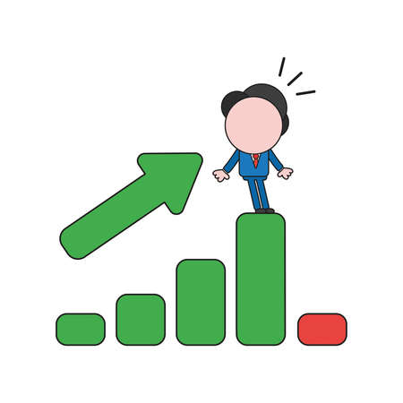 Vector illustration concept of businessman character standing on sales bar graph moving up and down. Color and black outlines. Stock Illustratie