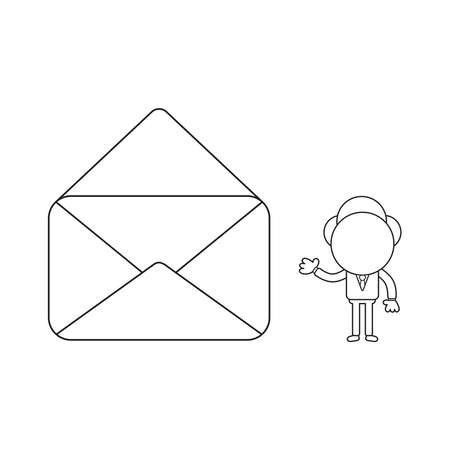 Vector illustration concept of businessman character with opened mail envelope. Black outline. 일러스트